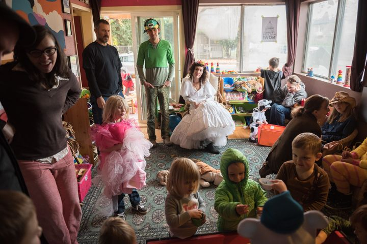 "Dressed as Mother Earth, Shawna hosts a Halloween party for the children and parents of Southern Street Kids. Running the business from her home, she prefers the term ""childcare"" over ""day care."" ""We have a joke in the biz,"" she said. ""I take care of children, not days."""