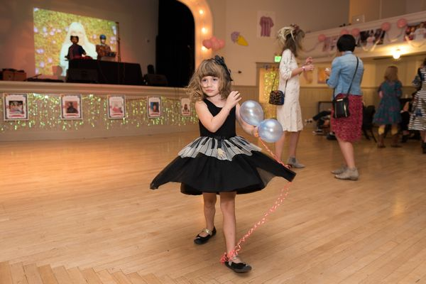 Early in the evening, Minnow has the dance floor to herself at the Shout Your Abortion event.