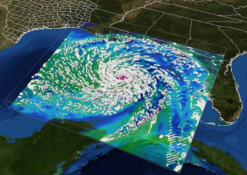 A visualization of Hurricane Ike shows the storm developing in the Gulf of Mexico and making landfall at the Texas coast.