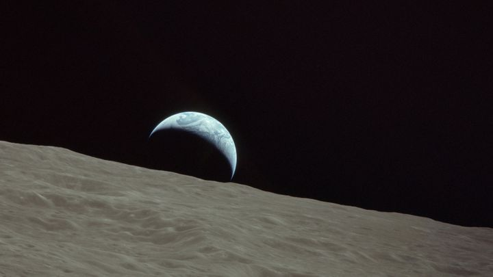 Human beings have not orbited the moon since 1972. This photograph of an Earthrise was captured by the crew of Apollo 17.