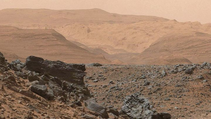This slice of varied, rocky terrain inside Gale Crater on Mars was imaged by NASA's Curiosity rover in 2015.