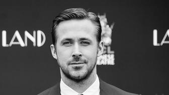 HOLLYWOOD, CA - DECEMBER 07:  (EDITOR'S NOTE: Image has been converted to black and white) Actor Ryan Gosling attends 'Ryan Gosling and Emma Stone hand and footprint ceremony' at TCL Chinese Theatre IMAX on December 7, 2016 in Hollywood, California.  (Photo by Emma McIntyre/Getty Images)