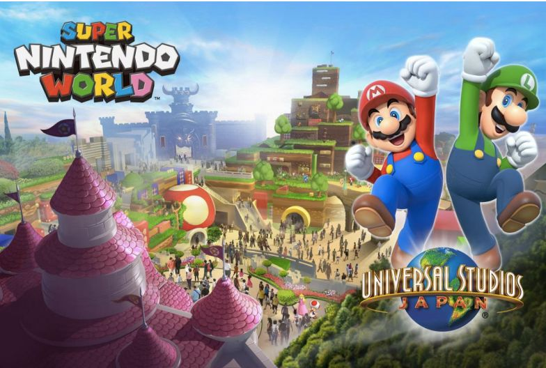 A rendering of Super Nintendo World at Universal Studios Japan