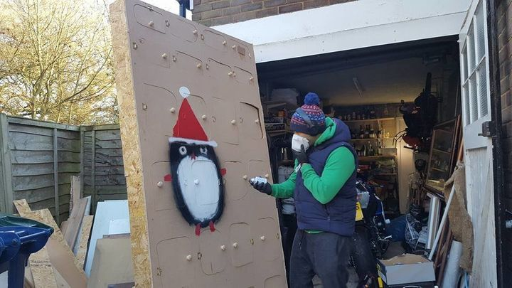 Benjamin also painted some festive penguins on themassive calendar.