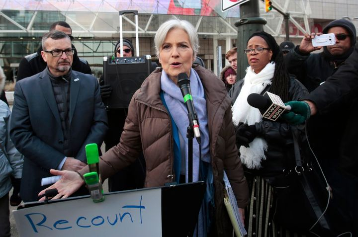 Jill Stein holds a rally and protest against stopping the recount of election ballots in Detroit on Dec. 10, 2016.
