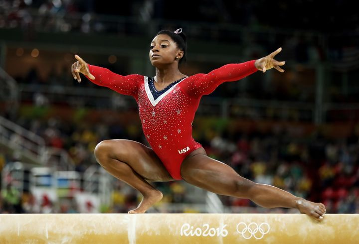 Simone Biles of the United States competes in the Balance Beam Final on day 10 of the Rio 2016 Olympic Games at Rio Olympic A