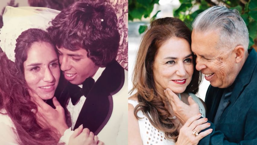 Conrad and Louise in 1974 (left) and 2016 (right).