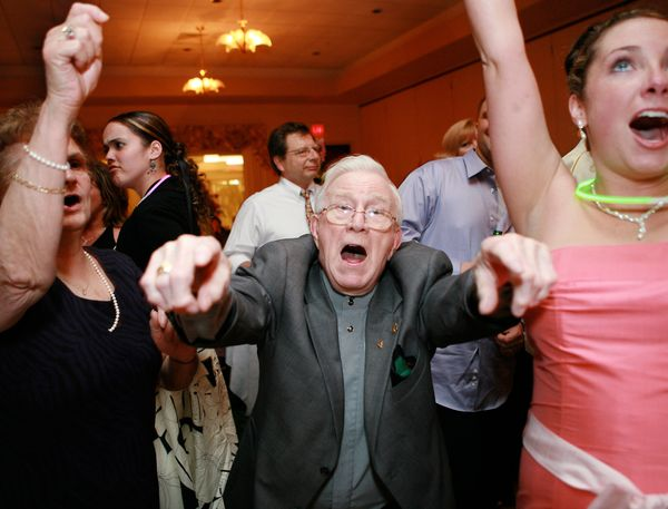 """""""While I was photographing the dance floor, this grandpa mugged the camera for a shot of him rocking out."""" -- <i>Thea Dodds</"""