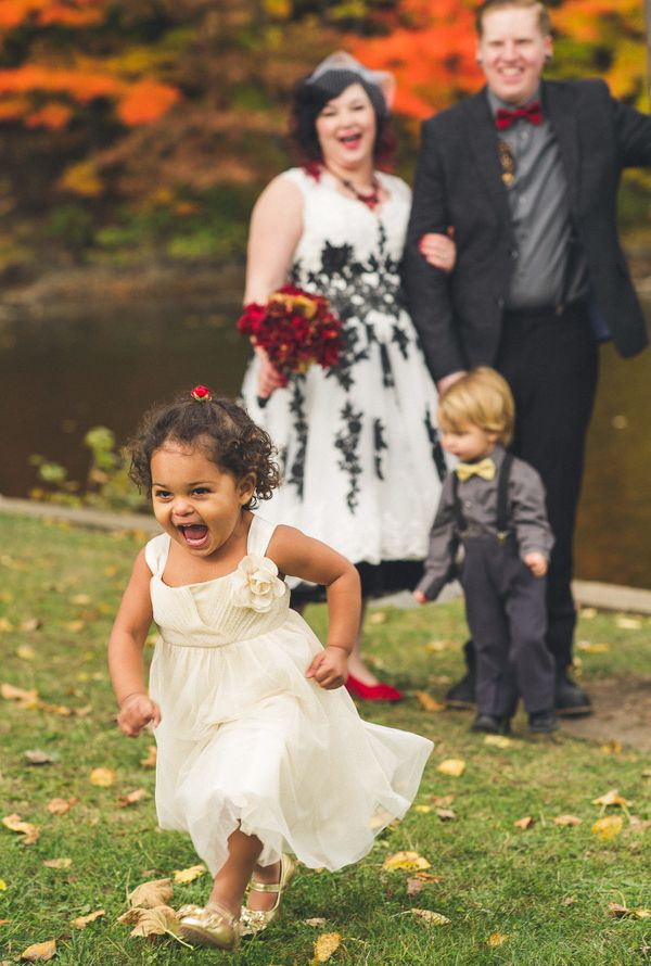 """""""The flower girl and the nephew of the groom took off during the formal portraits once they realized they were done with phot"""