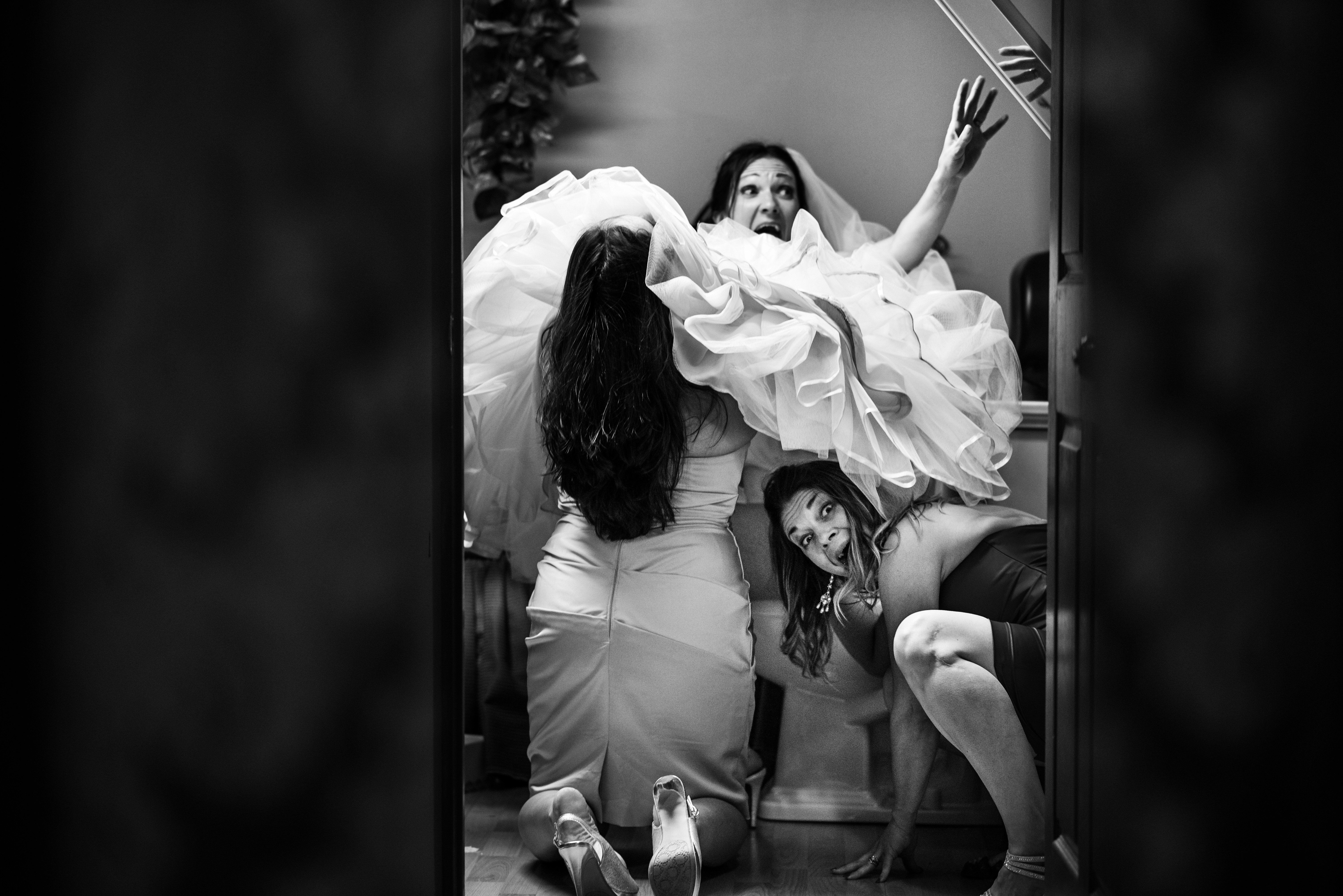 """""""Two of the bridesmaids were helpingmy bride use the restroom when the mirror behind the toilet began to fall over. The"""