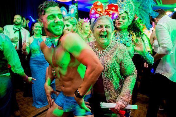"""""""There is a first time for everything! A go-go dancer, a grannie with Minnie Mouse ears and a samba dancer. This was on"""