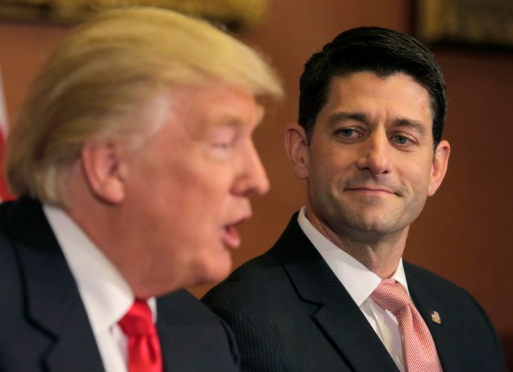 Ryan pondering the loss of his dignity while meeting with Trump last month on Capitol Hill.