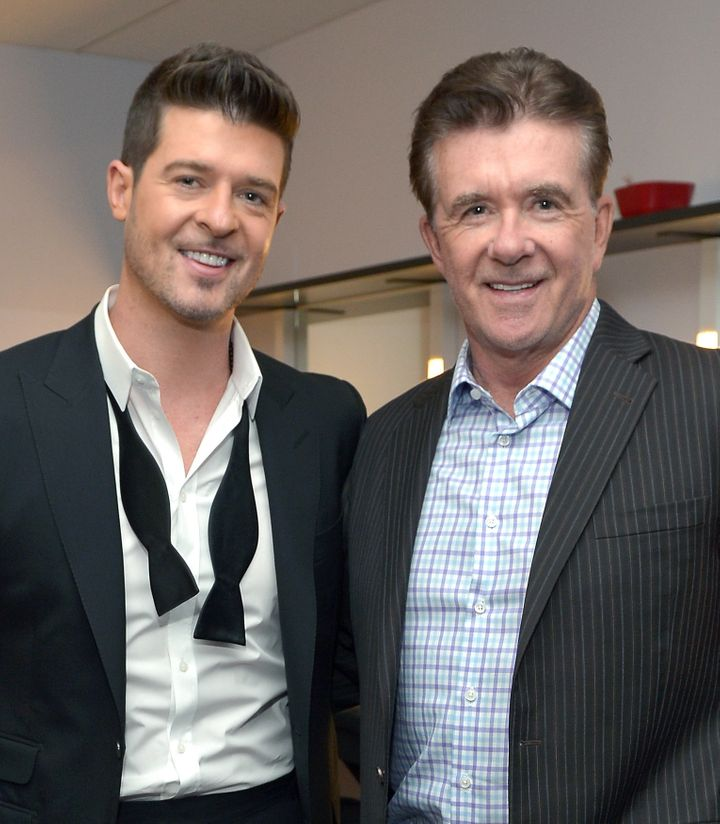 Robin Thicke with his father, Alan Thicke, atthe GrammyNominations Concert on Dec. 6, 2013, in Los Angeles.