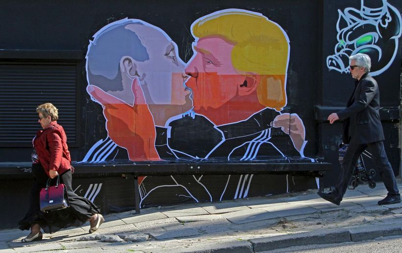 A mural on a restaurant wall in the Lithuanian capital Vilnius, depicting U.S. President-elect Donald Trump and Russian Presi