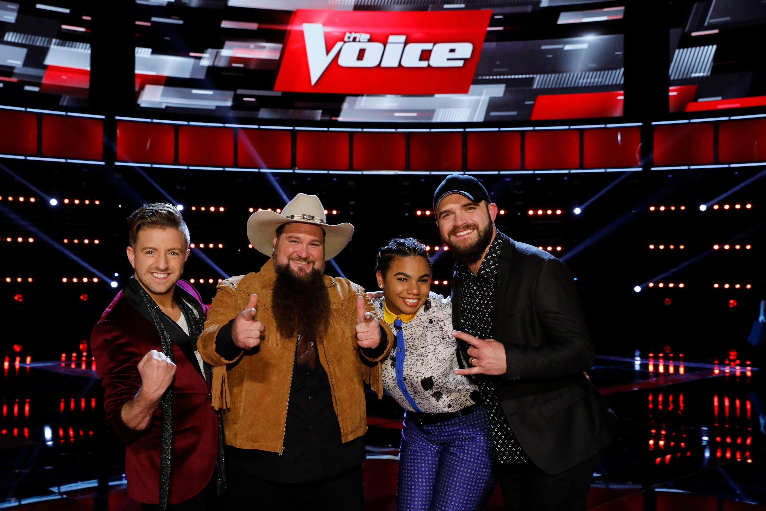 THE VOICE -- 'Live Semi Finals'  Episode: 1117B -- Pictured: (l-r) Billy Gilman, Sundance Head, We McDonald, Josh Gallagher -- (Photo by: Trae Patton/NBC/NBCU Photo Bank via Getty Images)