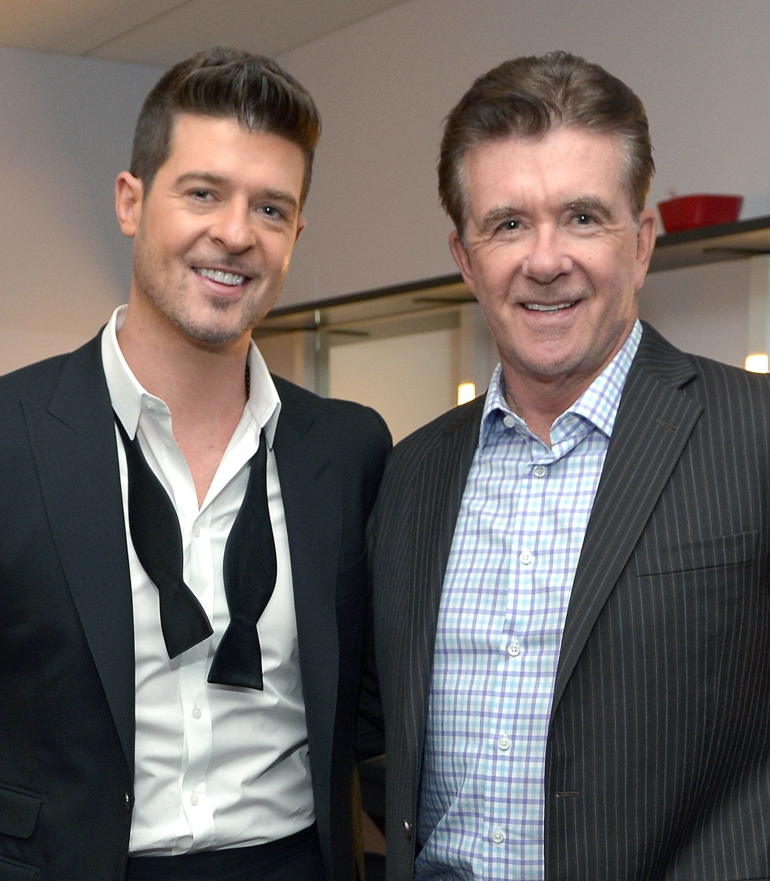 LOS ANGELES, CA - DECEMBER 06:  Recording artist Robin Thicke and actor Alan Thicke attend The GRAMMY Nominations Concert Live!! Countdown to Music's Biggest Night at Nokia Theatre L.A. Live on December 6, 2013 in Los Angeles, California.  (Photo by Charley Gallay/WireImage)