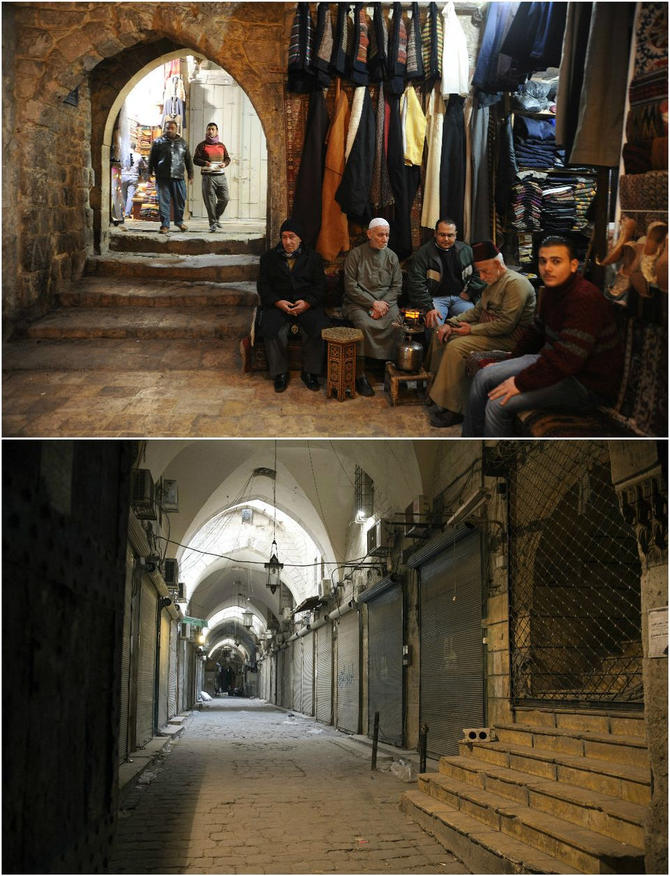 The once bustling souk now lies deserted after traders fled the