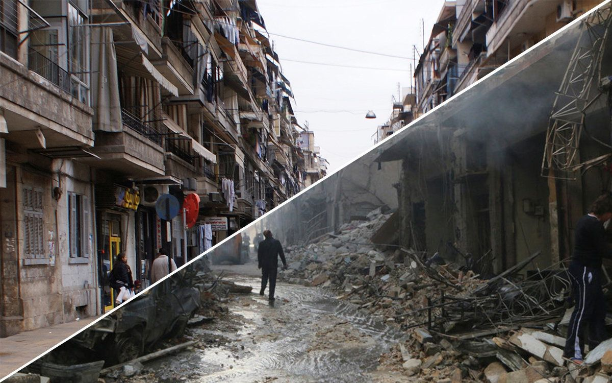 A before and after shot of Aleppo's
