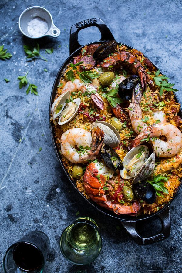"""<strong>Get the <a href=""""http://www.halfbakedharvest.com/skillet-grilled-seafood-and-chorizo-paella/"""" target=""""_blank"""">Seafood"""