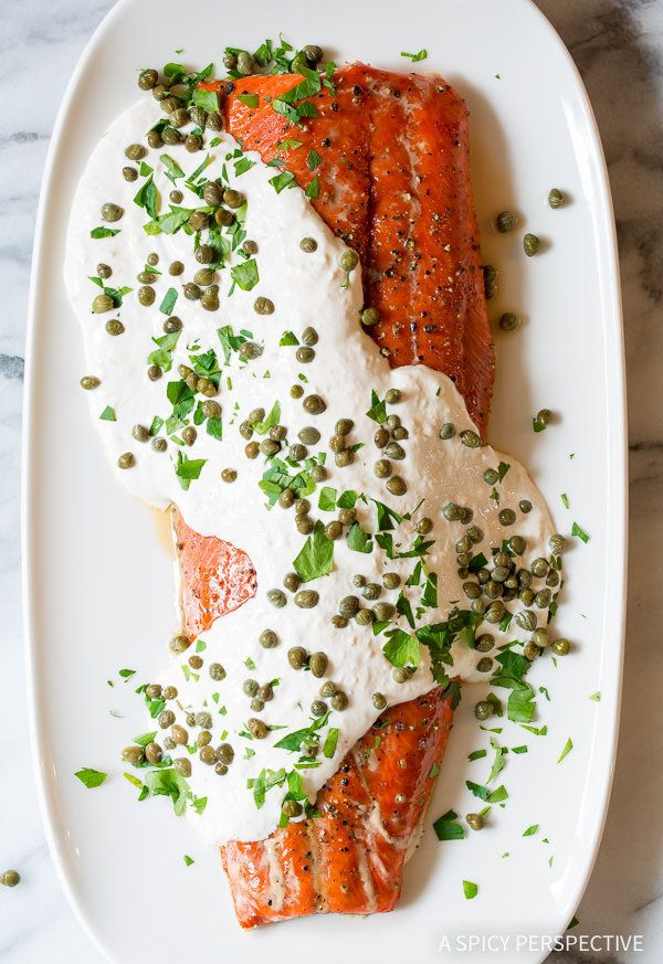 """<strong>Get the <a href=""""http://www.aspicyperspective.com/smoky-oven-baked-salmon-with-horseradish-sauce/"""" target=""""_blank"""">Sm"""