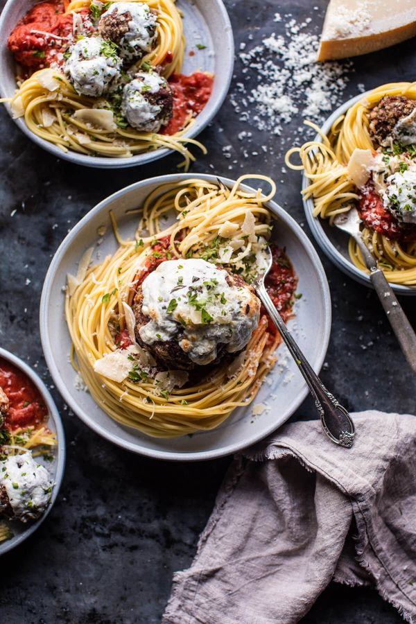 """<strong>Get the <a href=""""http://www.halfbakedharvest.com/spaghetti-and-meatballs/"""" target=""""_blank"""">Spaghetti and Meatballs re"""