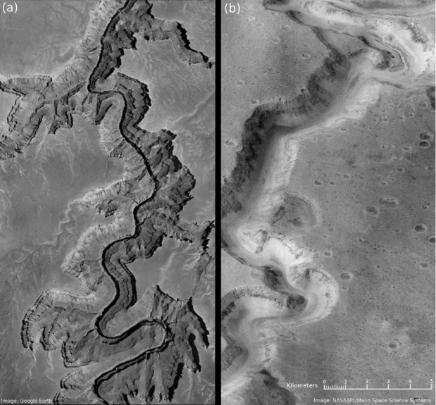 A comparison (to scale) of portions of the Grand Canyon (a) and Nanedi Valles (b), one of the ancient martian valley networks