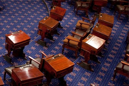 With the U.S. Senate adjourned, the chamber is empty which means that judges' seats in federal courthouses across the country
