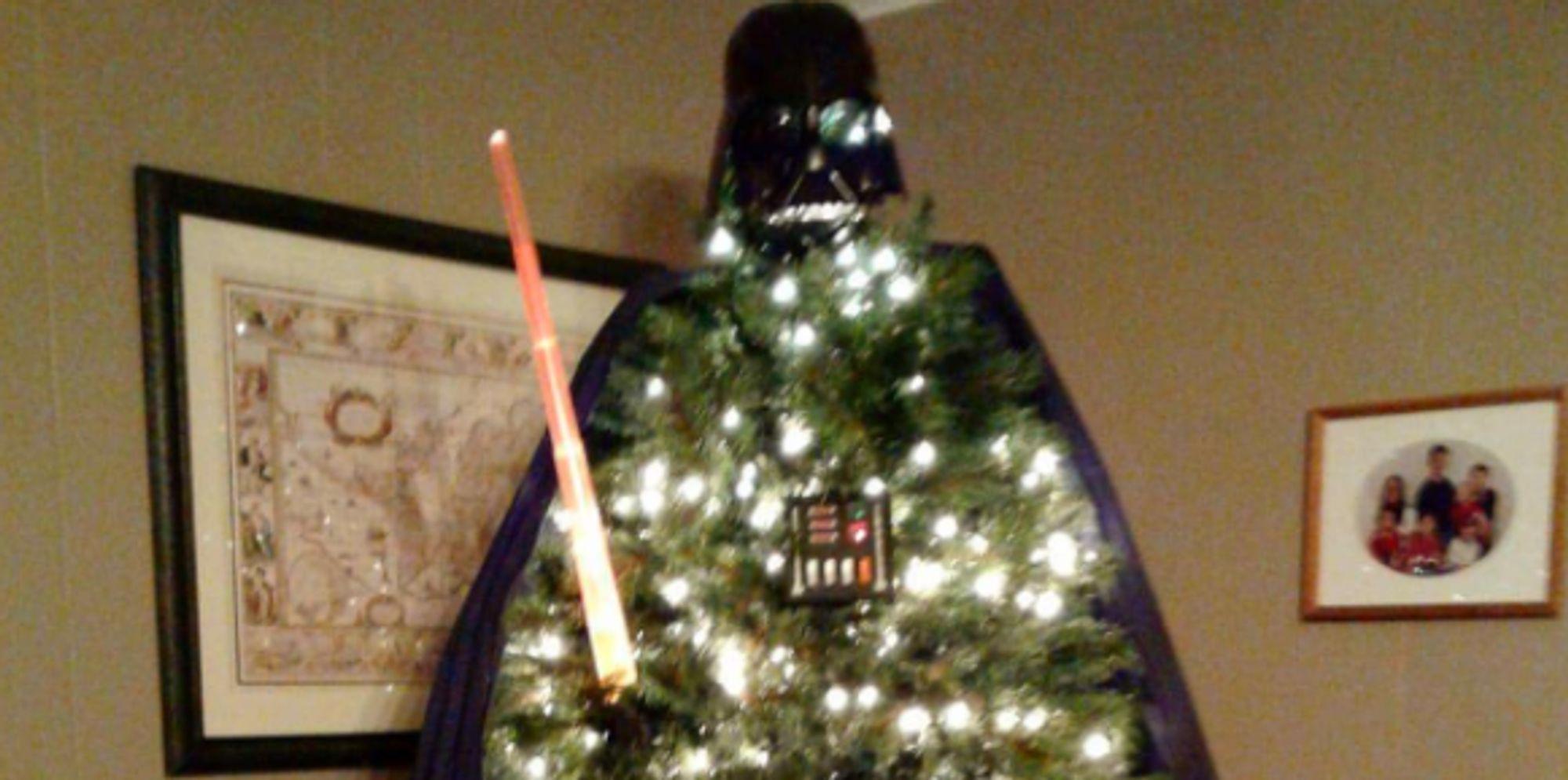 'star Wars' Fan Turns Christmas Tree Into Giant Darth Vader  Huffpost Uk