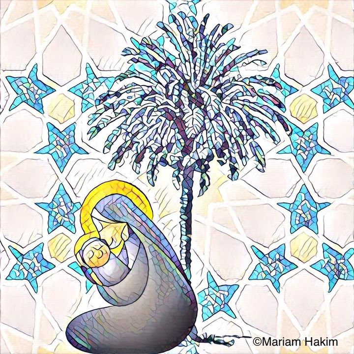 In the Islamic nativity, Jesus is born under a date palm tree.
