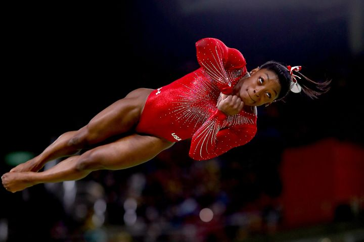 Simone Biles of the United States competes in the Women's Vault Final on Day 9 of the Rio 2016 Olympic Games at the Rio Olymp