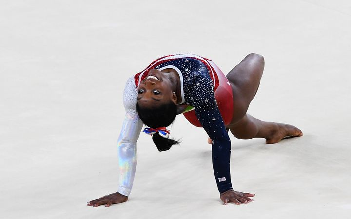 Simone Biles of the United States competes on the floor during the Artistic Gymnastics Women's Team Final on Day 4 of the Rio