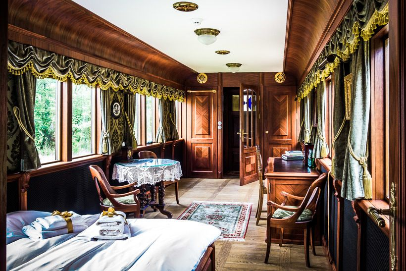 A train car room fit for a tsar at Carska Hotel in Bielowieza, Poland.