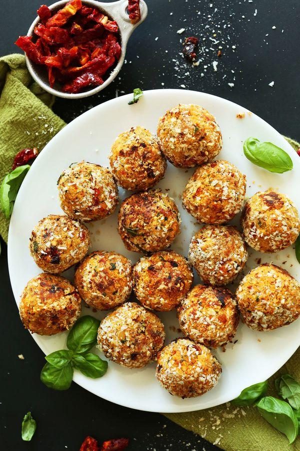 "<strong>Get the <a href=""http://minimalistbaker.com/vegan-sun-dried-tomato-basil-meatballs/"" target=""_blank"">Vegan Sun-Dried"