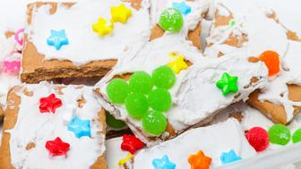 Broken pieces of a gingerbread house