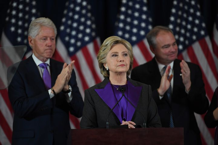 Hillary Clinton speaks during a press conference at the Wyndham New Yorker Hotel the day after the election on Wednesday Nove