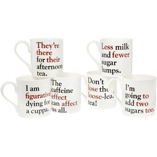 "$56.00 for six, $12.47 for one.&nbsp;<a href=""https://www.theliterarygiftcompany.com/products/grammar-grumble-mugs-set"" targe"