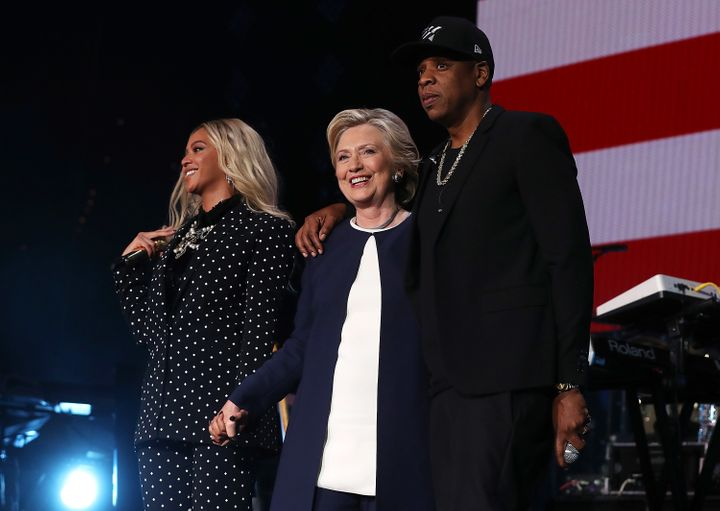 Beyonce, Democratic presidential nominee former Secretary of State Hillary Clinton and Jay Z appear on stage during a Get Out