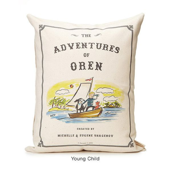 "$120, Patricia Carlin. <a href=""http://www.uncommongoods.com/product/personalized-storybook-pillow-adventure"" target=""_b"