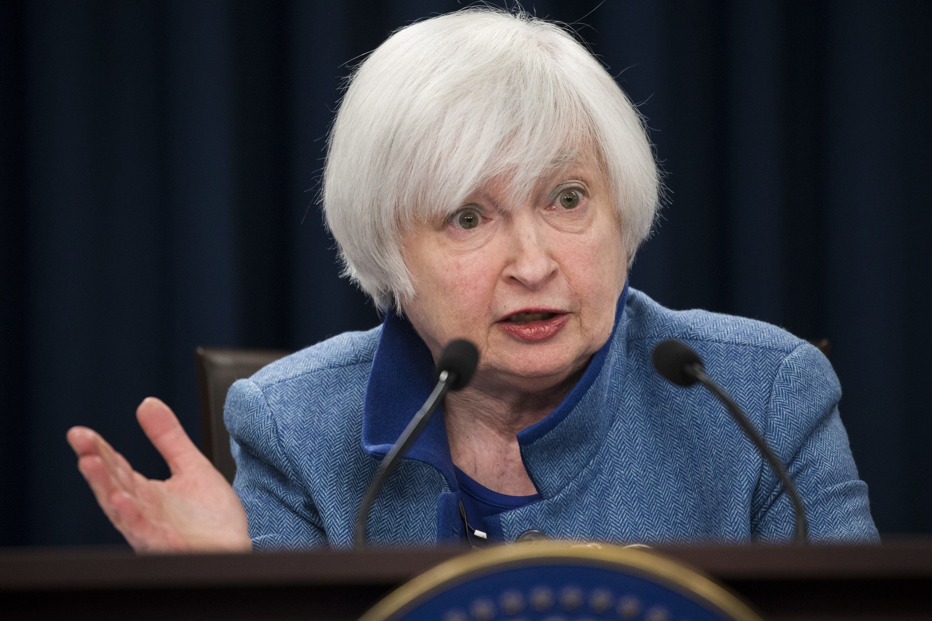 Federal Reserve chairwoman Janet Yellen speaks during a press conference following the Fed's interest rate announcement in Wa