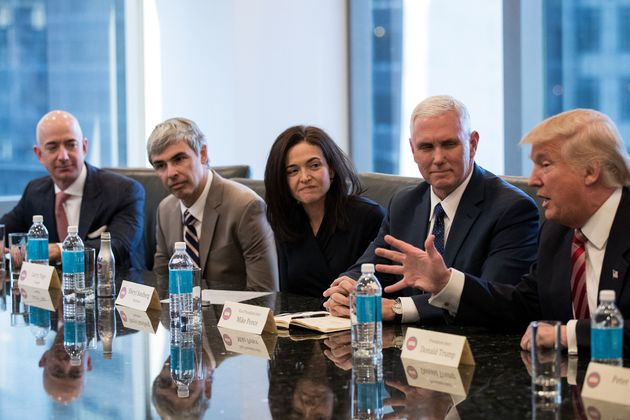 (L to R) Jeff Bezos, chief executive officer of Amazon, Larry Page, chief executive officer of Alphabet...