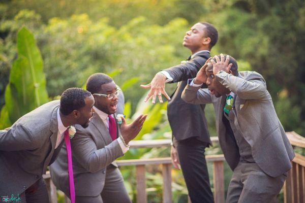 """The groomsmen were <i>very</i> impressed by the groom's new bling."" --<i>Jordache Jones</i>"