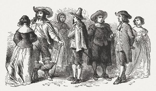 """The American pilgrims <a href=""""http://www.history.com/topics/christmas/history-of-christmas"""" target=""""_blank"""">followed in the"""