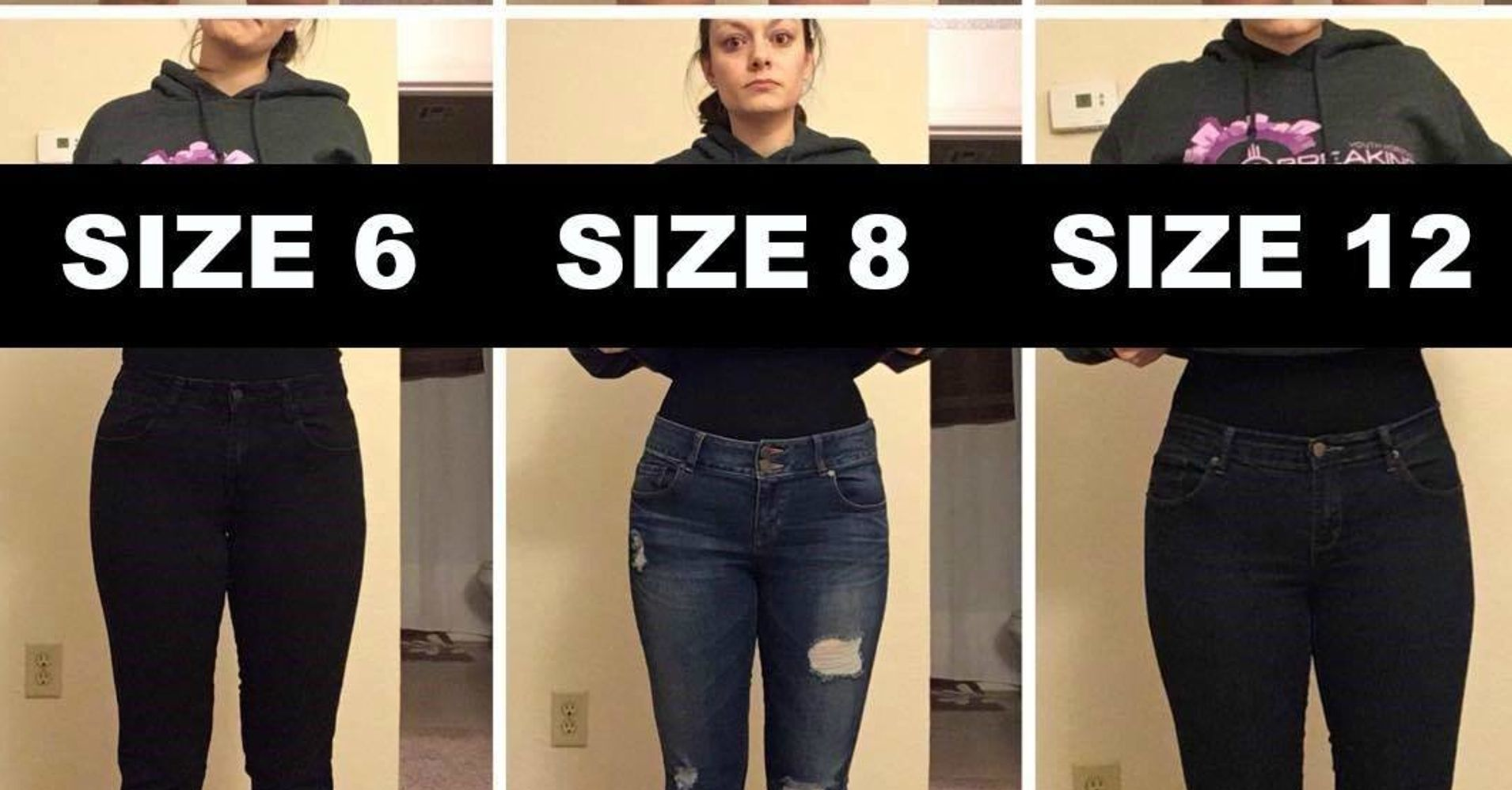 Live Life Dramatically Apparel By Ludlam Dramatics: Woman Poses In Varying Pants Sizes To Make A Point About