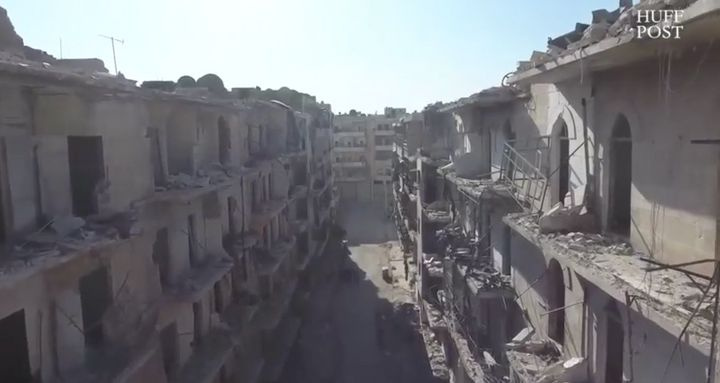"""A scene from war-torn Aleppo, Syria captured in the Huffington Post's """"Children of Aleppo Ask Candidates Questions,"""" October"""