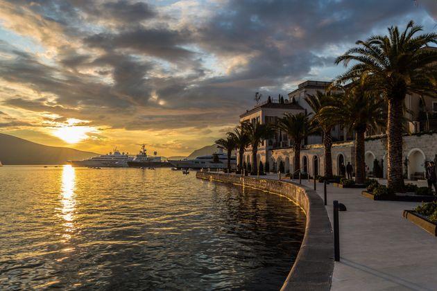 Sunset in marina Porto Montenegro, Tivat,
