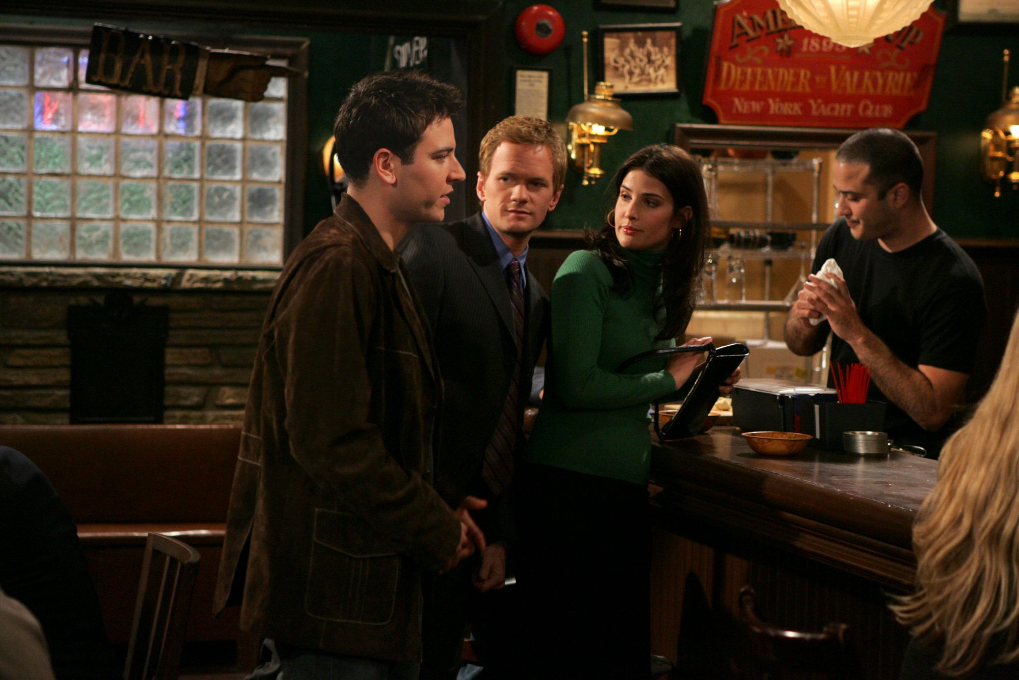 LOS ANGELES - APRIL 6: 'Pilot' -- Cobie Smulders (right) Neil Patrick Harris (center) and Josh Radnor, of the CBS Pilot HOW I MET YOUR MOTHER  (Photo by Monty Brinton/CBS via Getty Images)