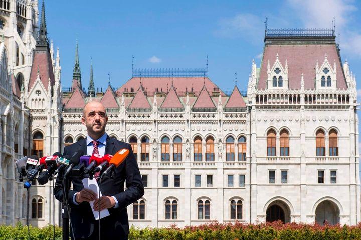 Hungarian spokesman Zoltan Kovacs outside the national parliament.