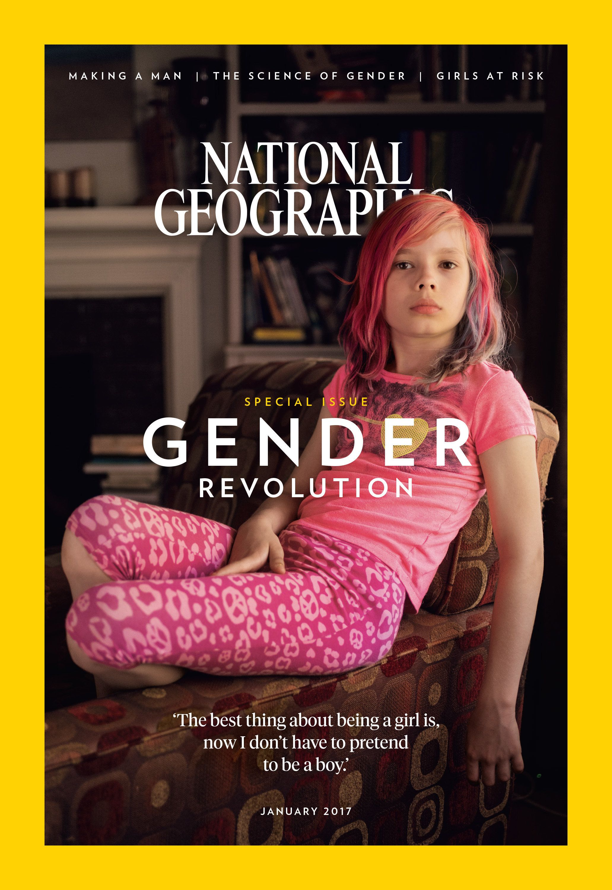 "Avery Jackson, 9, covers the subscriber's edition of National Geographic's ""Gender Revolution"" issue in January."