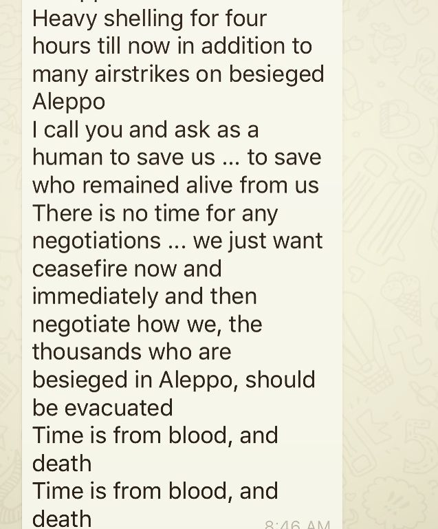 Screen shot of message sent from inside Aleppo.
