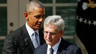 U.S. President Barack Obama announces Judge Merrick Garland (R) of the United States Court of Appeals as his nominee for the U.S. Supreme Court  in the Rose Garden of the White House in Washington March 16, 2016.       REUTERS/Kevin Lamarque